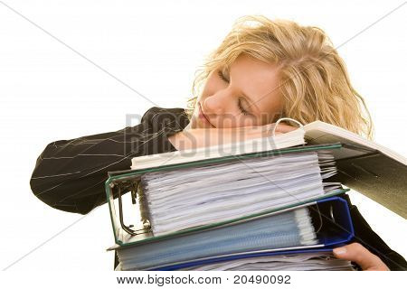 Business Woman Sleeping On Files