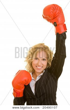 Business Woman Cheering With Boxing Gloves