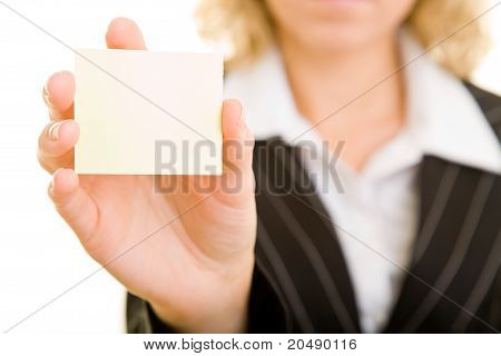 Woman Holding Empty Post-it