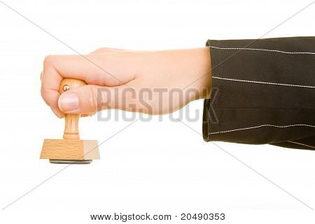 Business Hand Holding Stamp