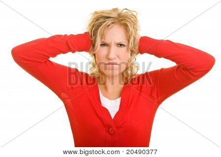 Woman Closing Her Ears