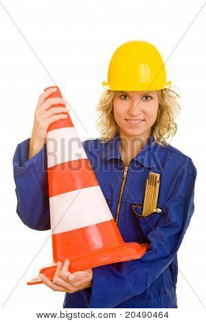 Female Worker Holding Traffic Cone