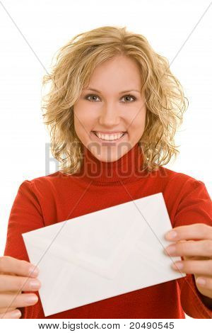 Vrouw weergegeven: envelop