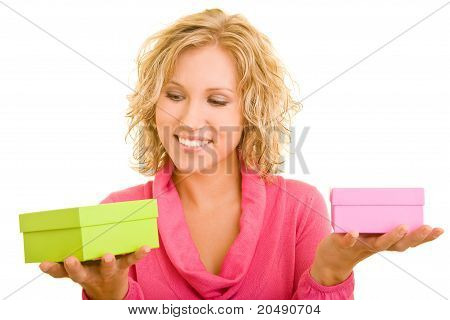 Woman Choosing Between Presents