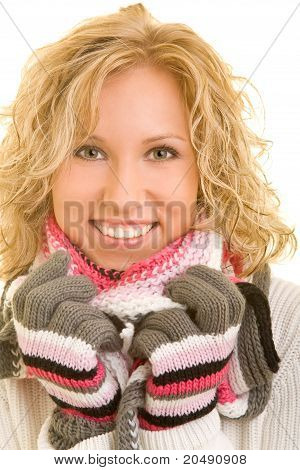 Woman With Scarf In Winter
