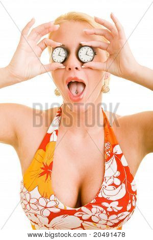 Woman With Watches As Eyes