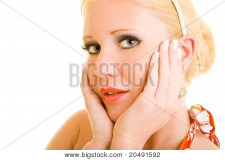 Red Lipstick On Blonde Woman