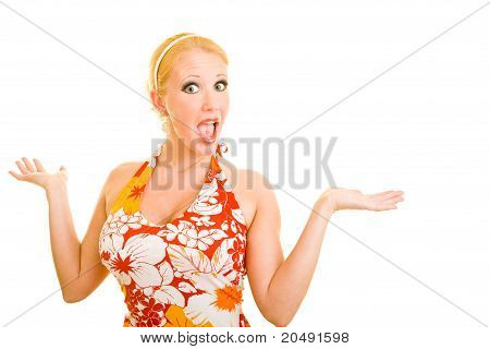 Blonde Woman Shrugging Her Shoulders