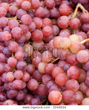 Red Grapes At A Farmer'S Market.