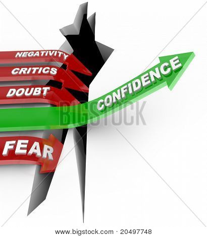 A green arrow marked Confidence rises above a chasm of failure, while red arrows marked with negative influences such as Negativity, Critics, Doubt and Fear lead straight into the hole of despair