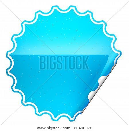 Blue Round Bent Sticker Or Label With Spots