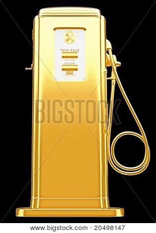 Costly Fuel: Golden Gas Pump Isolated On Black