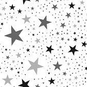 Black Stars Seamless Pattern On White Background. Unusual Endless Random Scattered Black Stars Festi poster
