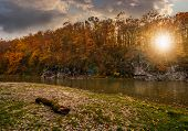 Постер, плакат: Log On A Rocky Shore Of Forest River At Sunset