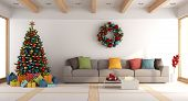 White Living Room With Christmas Tree poster