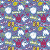 Baseball And Softball Seamless Pattern poster