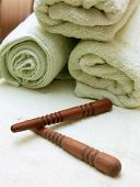 Thai Massage Sticks And Towel poster