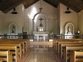 stock photo of church interior  - chapel interior in a remote rural town - JPG