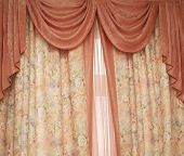stock photo of fimbriae  - Two pink portieres at a window  - JPG
