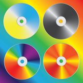 stock photo of diffraction  - Compact discs set with optical spectrum diffraction effect - JPG