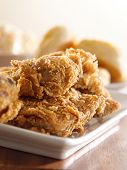 picture of southern fried chicken  - fried chicken meal closeup - JPG