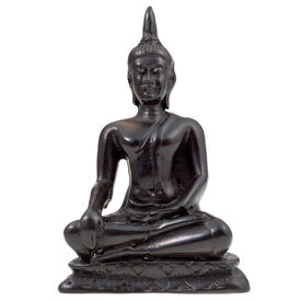 image of obeah  - black statuette of Buddha isolated on white - JPG