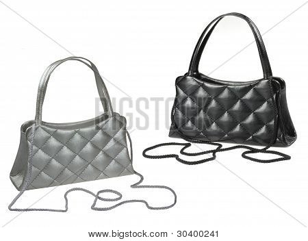 Black And Grey Theater Purses Isolated On White