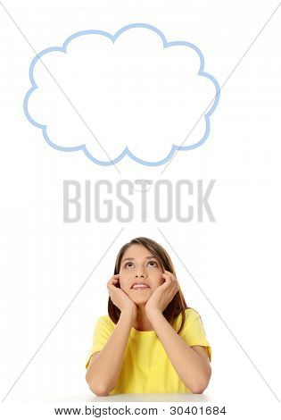 Thoughtful woman, isolated over a white background