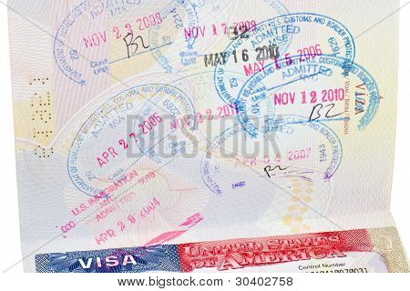 "Passport With Us Visa And ""admitted"" Stamps"