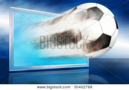 Football Ball Go Out Through Blue Screen.