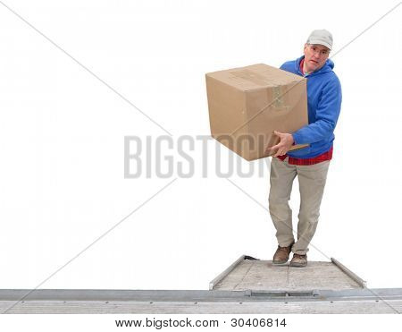 Worker loading a van, isolated on white