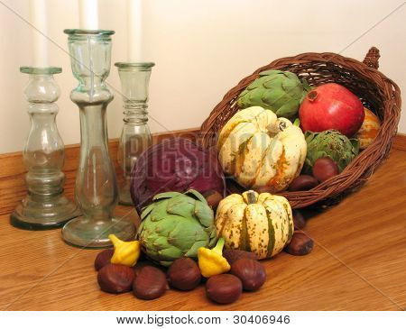 Cornucopia with candlesticks