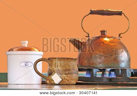 Tea kettle, mug and canister