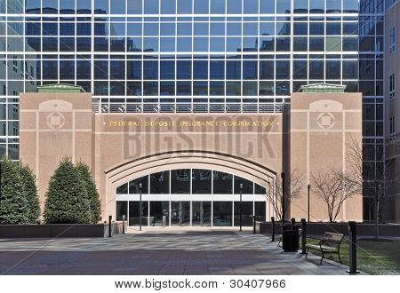 Exterior of Federal Deposit Insurance Corporation building in Arlington, VA