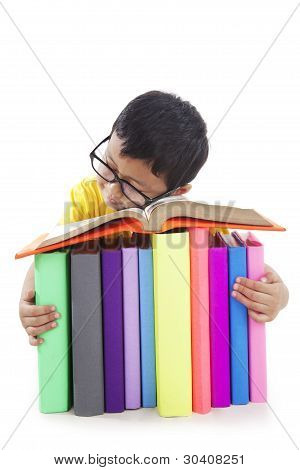 Boy With Glasses Sleeping With Books
