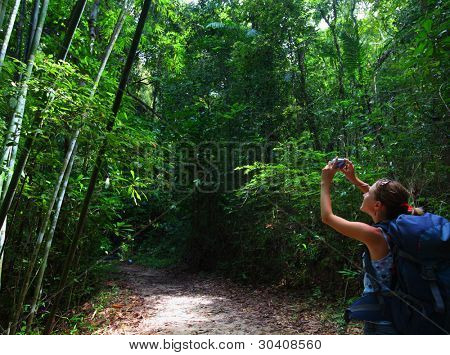 Woman with backpack taking photo in a tropical forest
