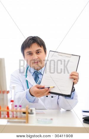 Medical Doctor Stretching Clipboard For You To Sign