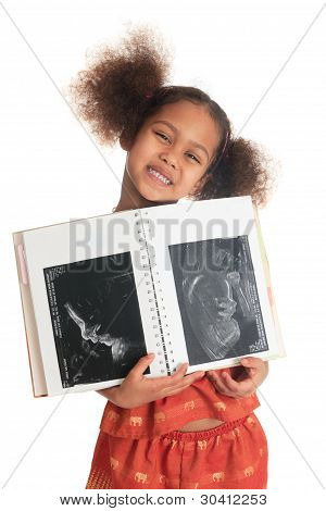 Afro American Asian Black Child With Book Ultrasound Isolated