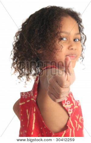 Afro American Beautiful Girl Children With Black Curly Hair Isolated