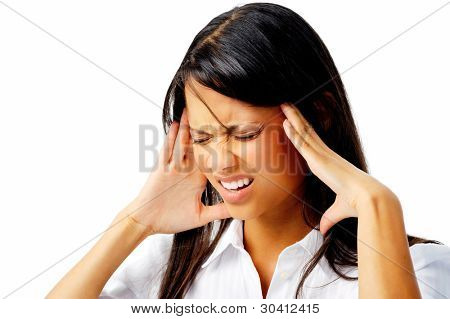 Corporate woman suffering a bad headache, isolated on white