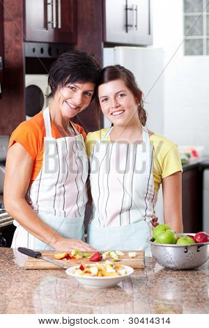 mother and daughter portrait in kitchen