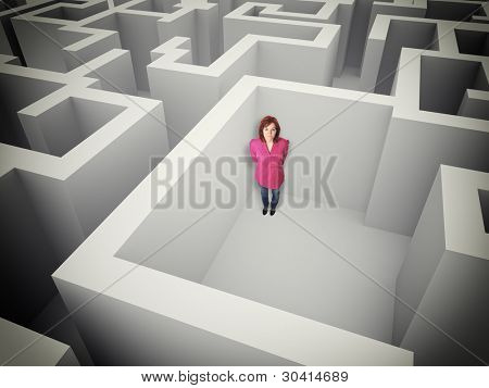 standing woman in 3d maze