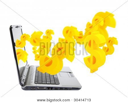 Online business. Laptop with dollar symbols