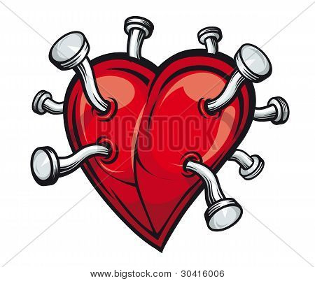 Heart With Bent Nails