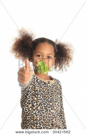 Beautiful Child  Asian African American Black Child Eats Salad Isolated Metisse