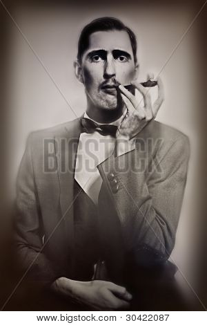 Retro Portrait Of  Man Smoking A Pipe