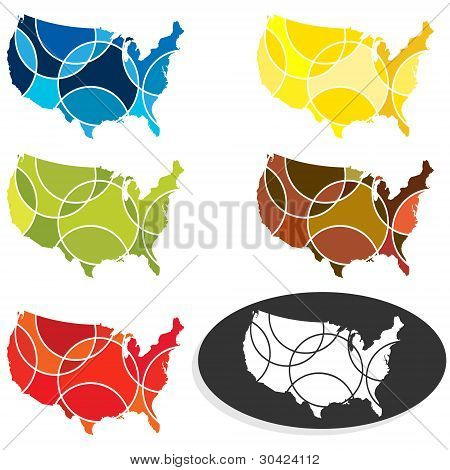 Usa Maps In Segments Of Different Colour