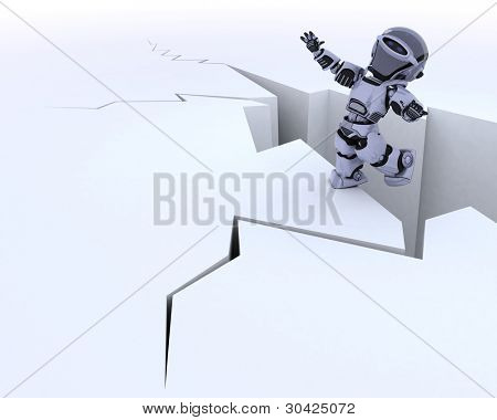 3D render of a robot on a cliff edge