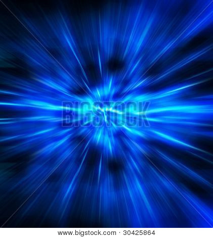 Exploding or expanding blue light.