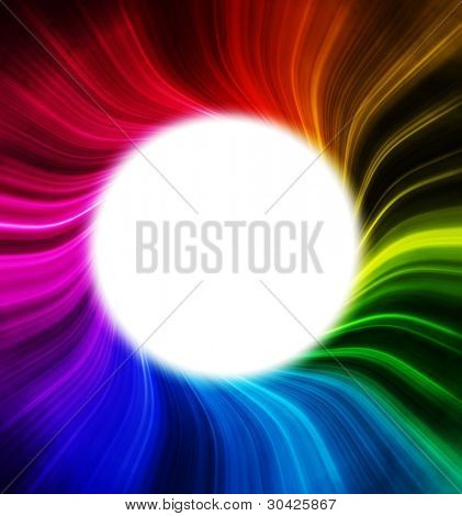 White hole like vortex with rainbow colored spectrum rays. Copyspace in center.